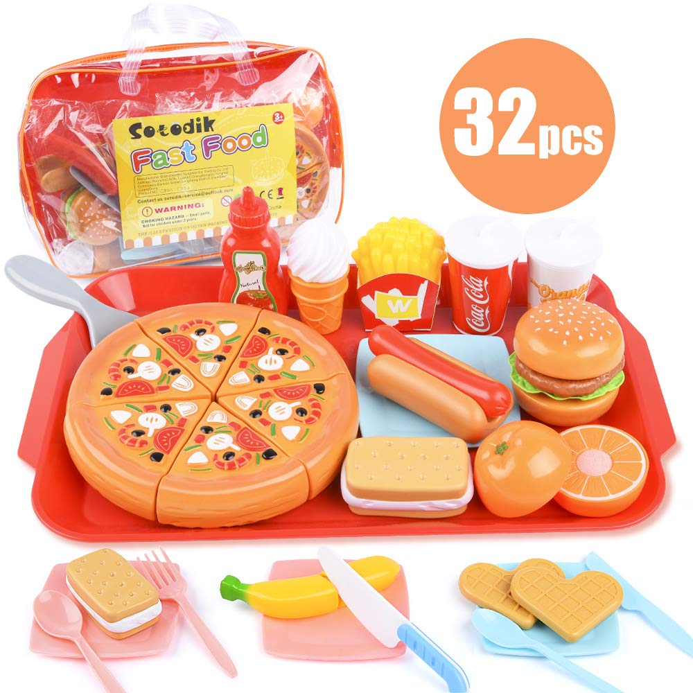 Sotodik 32PCS Play Food Pretend Play Fast Food Toys Set Cutting Pizza Hamburger Fruit Playset for Toddler Kid Boys Girls Toys(Single Tray)
