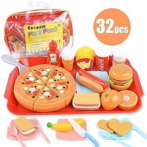 Sotodik 32PCS Play Food Pretend Play Fast Food Toys Set Cutting Pizza Hamburger Fruit Playset for Toddler Kid Boys Girls Toys(Single Tray)
