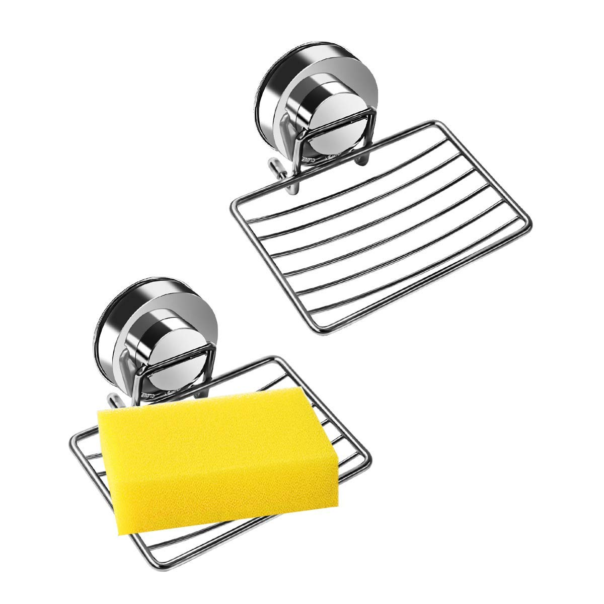 2Pack Soap Dish Holder, Stainless Steel Soap Basket with Strong Suction Cup Loofah Sponge Holder, Soap Saver Used for Bathroom, Kitchen, Shower, Sink, Camp, RV by Kamay