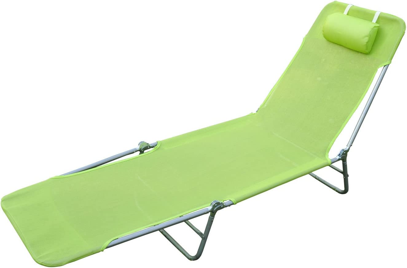 Outsunny Outdoor Folding Chaise Lounge Sun Recliner Chair Beach Patio Lightweight, Green