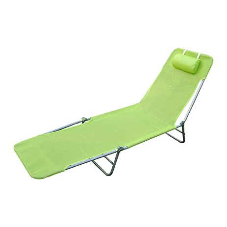 Outsunny Adjustable Reclining Beach Sun Lounge Chair, Green