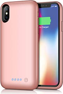 Battery Case for iPhone XS/X/10, Rechargeable 6500mAh Portable Charging Case Extended Battery Pack Cover Power BankCharger Case for iPhone Xs/X[5.8 inch]-Rose Gold
