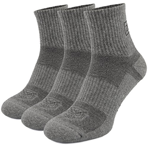 Tactical Quarter Crew Boot Socks - Hiking Trekking Military - Outdoor Athletic Sport - Frogman Line by 281Z (Dark Grey Small 3 Pairs Pack) (Silver Boot Sock)