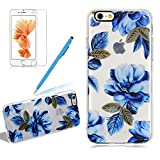 Silicone Blue Flower Case Cover For Iphone 6 6S PLUS, Girlyard Vintage Painted Garden Floral Design Flexible Silicone Rubber TPU Case Cover Crystal Clear Protection Anti-Shock Phone Case Cover
