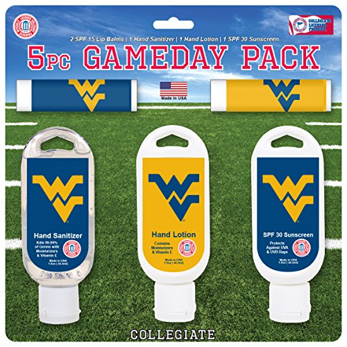 - Worthy Promo NCAA West Virginia Mountaineers 5-Piece Game Day Pack with 2 Lip Balms, 1 Hand Lotion, 1 Hand Sanitizer, 1 SPF 30 Sport Sunscreen