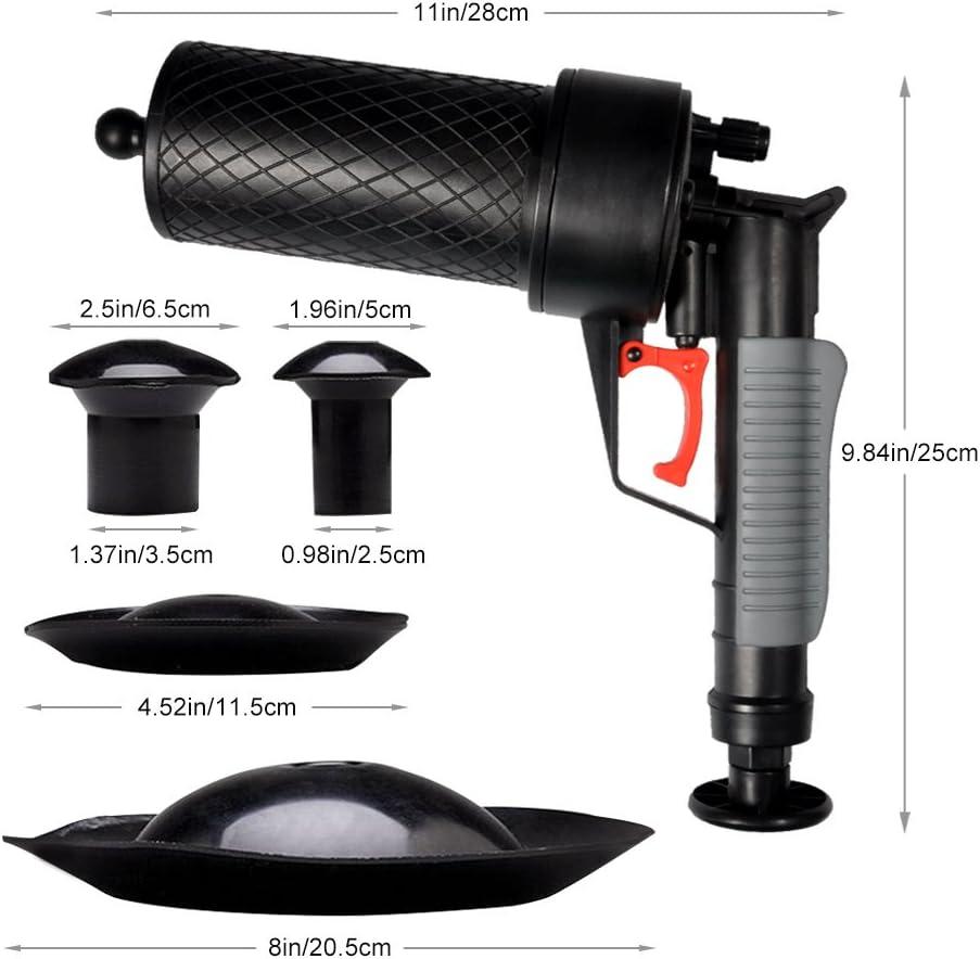 High Pressure Toilet Plunger Air Pump Drain Unblocker Plunger Opener Cleaner Kit for Bath Toilets Shower Air Pump Drain Blaster Bathroom Kitchen Clogged Pipe Bathtub