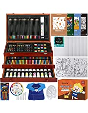 MEEDEN 215-Piece Mega Wooden Box Art Set, Deluxe Painting & Drawing Kit with All Paint Supplies for Kids, Beginners and Adults
