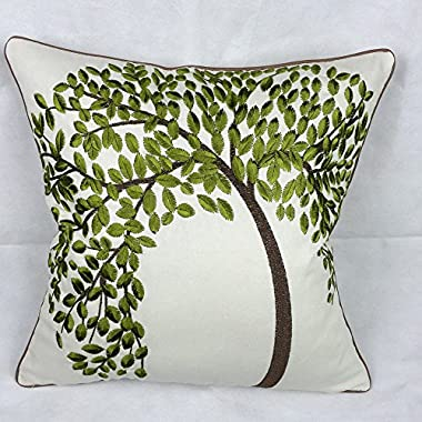 Lily Cindy Cotton Linen Decorative Throw Pillow Cushion Covers Pillowcase Shell Green Tree Embroidery 18  X 18