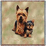 Pure Country 1136-LS Yorkie Pups Pet Blanket, Canine on Beige Background, 54 by 54-Inch