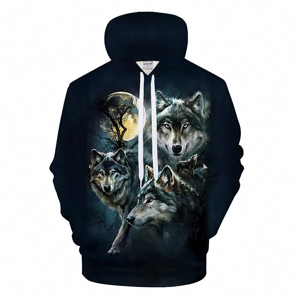 Black Hoodies Wolf Hoody Men Sweatshirt Anime Tracksuit 3D Boy Pullover Coat