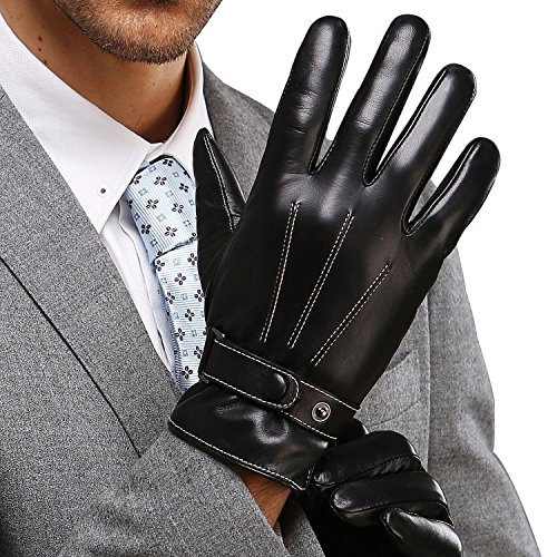 Best Winter Mens Leather Gloves Made of Australia Lambskin Drive/work/motorcycle Riding/cycling(LESS THAN $27.88 ARE FAKE, PLEASE FOUCS ON GENUINE KWESOR GLOVES)
