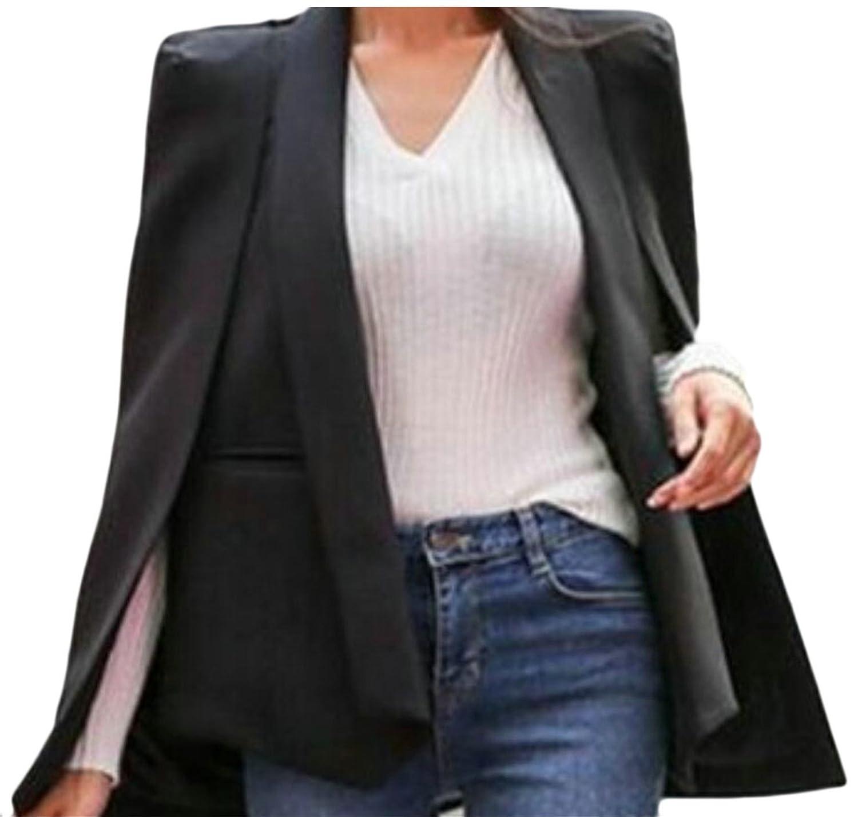 HTOOHTOOH Womens Fashion Long Sleeve Open Front Cape Split Workwear Blazer