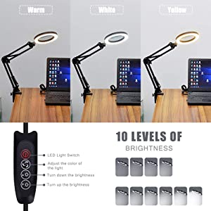 LED 5X Magnifying Glass Light Desk Lamp - 3 Light Colors Illuminated 10 Brightness Dimmable - USB Powered Magnifier Lighted Lens Adjustable Swivel Arm and Tabletop Clamp for Close Work Craft & Reading (Color: Black, Tamaño: Small)
