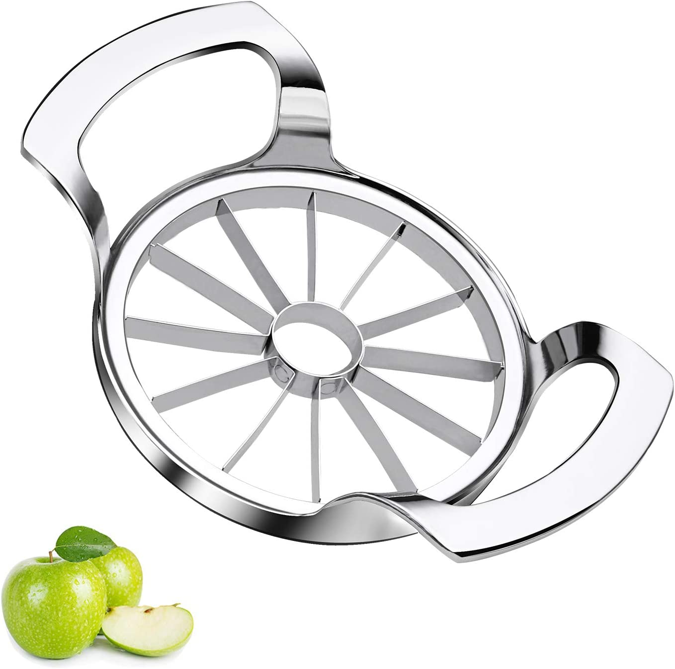 Sinnsally Apple Slicer Upgraded Version 12-Blade Extra Large Apple Corer Peeler,Stainless Steel Ultra-Sharp Fruit Corer & Slicer,Apple Cutter,Wedger,Decorer Tool,Divider for Up to 4 Inches Apples