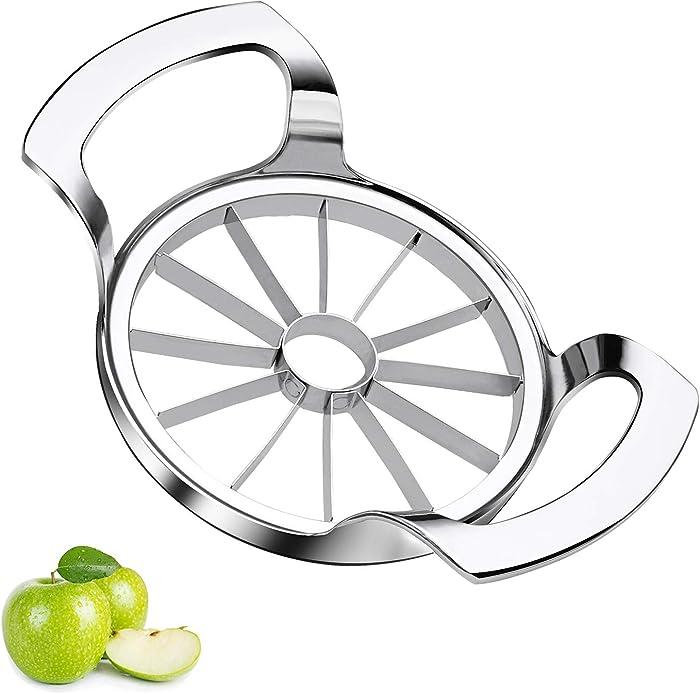 Sinnsally Apple Slicer Upgraded Version 12-Blade Extra Large Apple Corer Peeler,Stainless Steel Ultra-Sharp Fruit Corer & Slicer,Apple Cutter,Wedger,Decorer Tool,Divider for Up to 4 Inches Apples