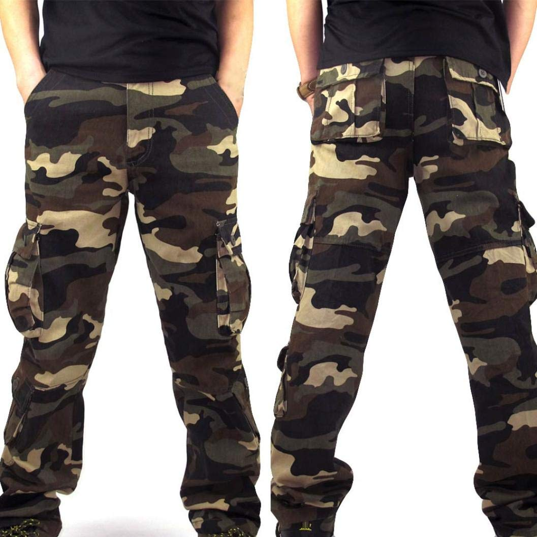 Dacawin Multi-Pockets Casual Cargo Pants Men Camouflage Fit Outdoors Work Beach Trousers by Dacawin (Image #4)