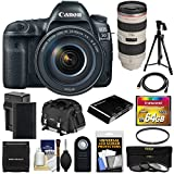 Canon EOS 5D Mark IV 4K Wi-Fi Digital SLR Camera & EF 24-105mm f/4L is II USM with 70-200mm f/2.8L Lens + 64GB Card + Battery & Charger + Case + Filters + Tripod Kit For Sale