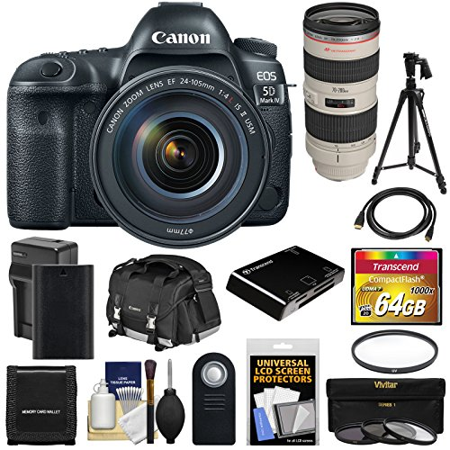 Canon EOS 5D Mark IV 4K Wi-Fi Digital SLR Camera & EF 24-105mm f/4L IS II USM with 70-200mm f/2.8L Lens + 64GB Card + Battery & Charger + Case + Filters + Tripod Kit