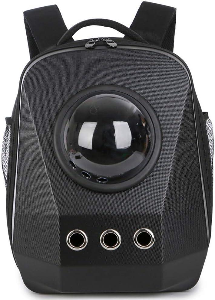 ペット猫用品スペースカプセルバックパックポータブルペットバックパックファッションダブルショルダーバックパック屋外旅行快適な通気性バックパック多色オプション13.7×11×17.7in (色 : ブラック) ブラック