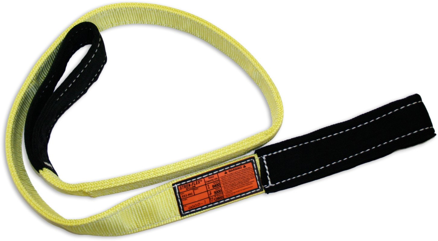 2 Ply 3200 lbs Vertical Load Capacity 3 Length x 1 Width Yellow Stren-Flex EEF2-901CE-3 Type 3 Heavy Duty Nylon Flat Eye and Eye Web Sling with Wrapped Eyes