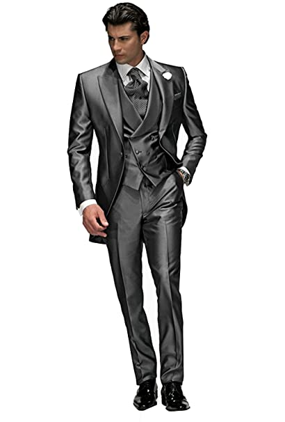 SHENLINQIJ Mens Wedding Prom Silver Gray 3 Pieces Tuxedo ...