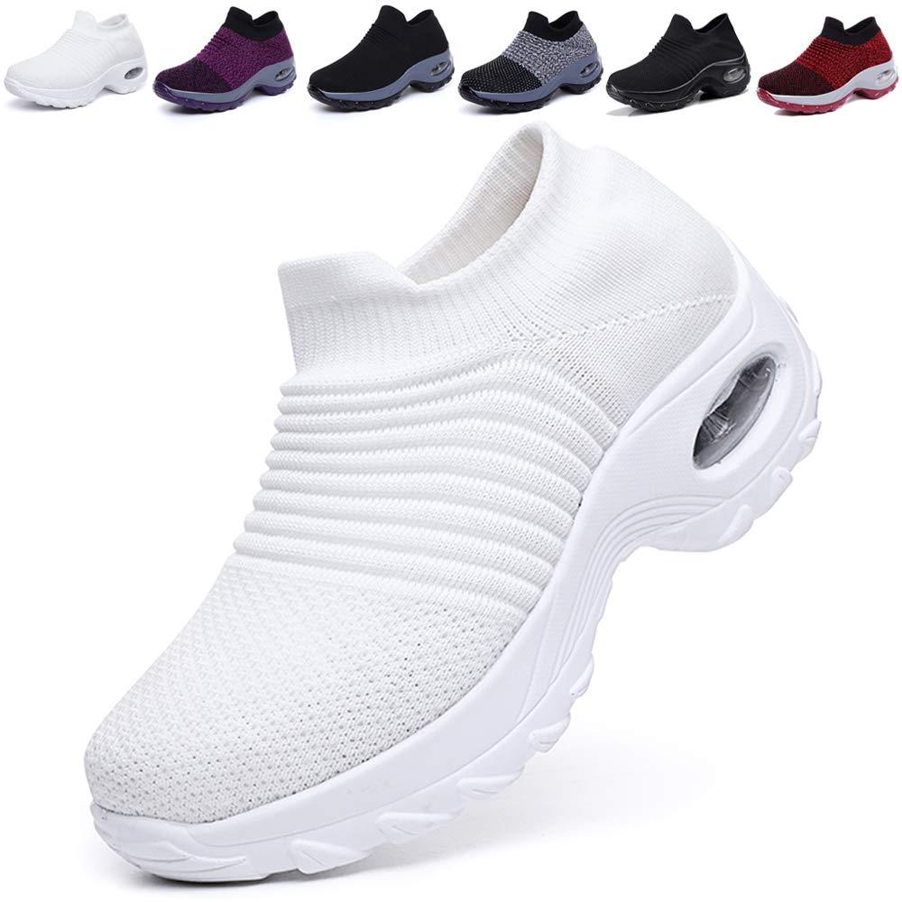 ba44119eaa544 K&T Womens Cushion Walking Shoes Sock Sneakers Tennis Shoes Mesh Slip On  Loafers Lightweight Fashion Nursing Girls Wedge Platform Dance Shoes