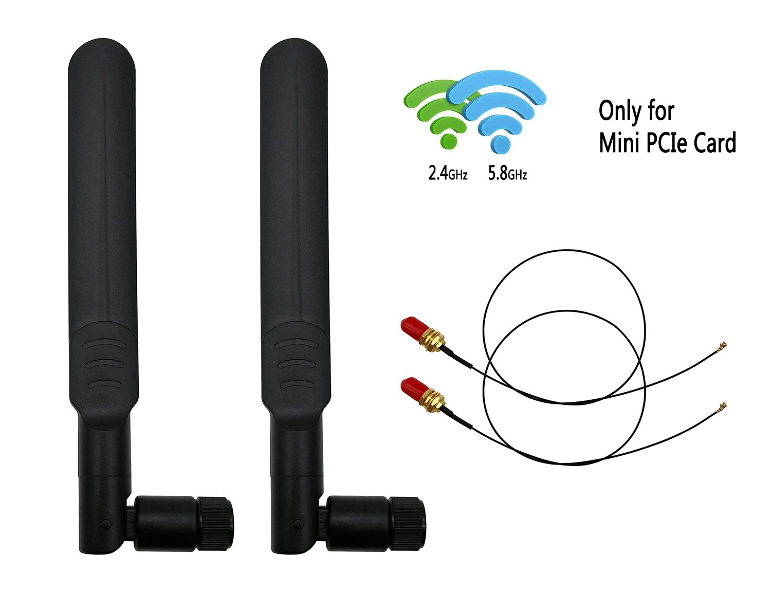 8dBi 2.4GHz 5.8GHz Dual Band Omni-directional WiFi RP-SMA Antenna + 35cm U.fl/IPEX to RP-SMA Female Pigtail Cable for Mini PCIe Card Routers Repeater Desktop PC FPV UAV Drone PS4 Build