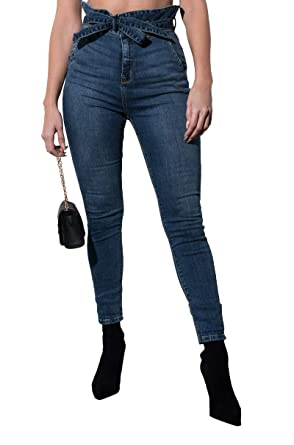 46d4ebfb34 AKIRA Women's High Waist Paperbag Cinch Belted Skinny Denim Jeans at Amazon  Women's Jeans store