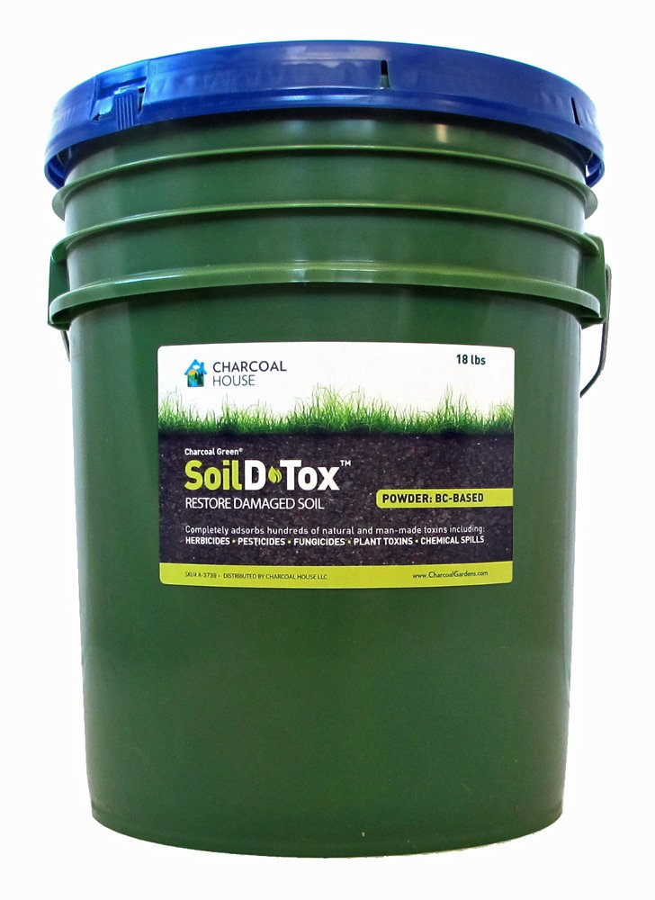 18 lb/5gal Pail Charcoal Green Soil D•Tox Coal Based Powder Especially manufactured for agricultural applications, Effectively decontaminates soil from chemical spills, pre-emergent herbicides more