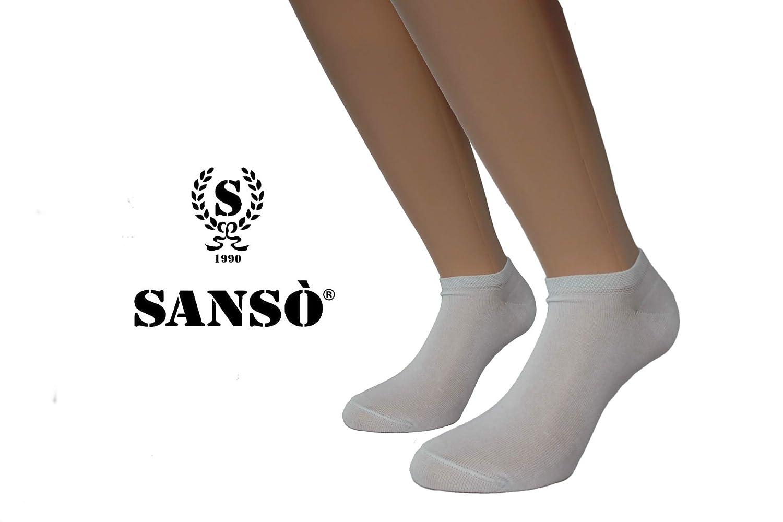 Unisex in pregiato Filo di Scozia Elasticizzato Made in Italy SANSO Italia Calze 12 paia Fantasmini 100/% Cotone
