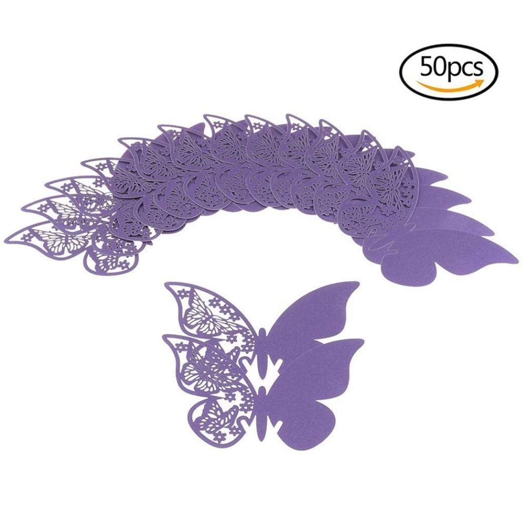 Butterfly Wine Glass Cup Card,Lovewe Butterfly Wedding Party Table Number Name Paper Place Cards Wine Glass Cup(50PC) (purple) by Lovewe_Cup Card (Image #1)