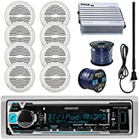Kenwood KMRM315BT Marine Boat Radio Stereo Receiver Bundle Combo With 8x Magnadyne WR45W 5 White Waterproof Speakers + 400-Watt Car/Marine Amplifier + Enrock Radio Antenna + 50Ft 16g Speaker Wire
