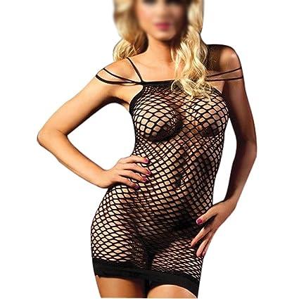 TOOGOO(R) Lenceria Sexy Negro Traje de malla transparentes ...