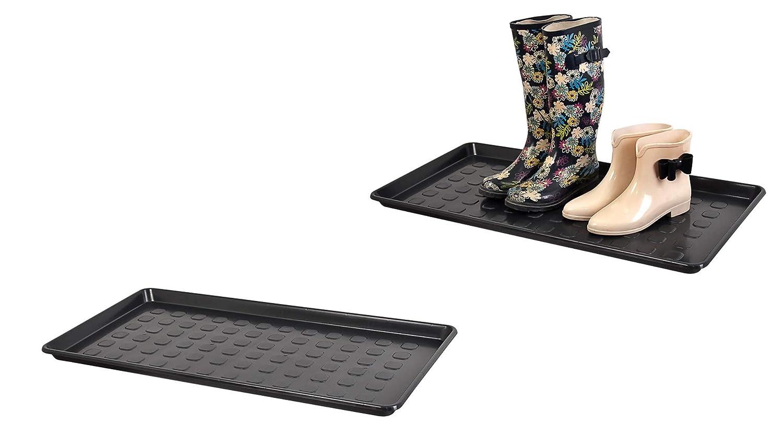 79 x 38 x 3 cm Kreher Aktions-Set: 2 x XL Mehrzweckablage Rechteckig Schuhablage aus Kunststoff in Schwarz Robust und abwaschbar. ca