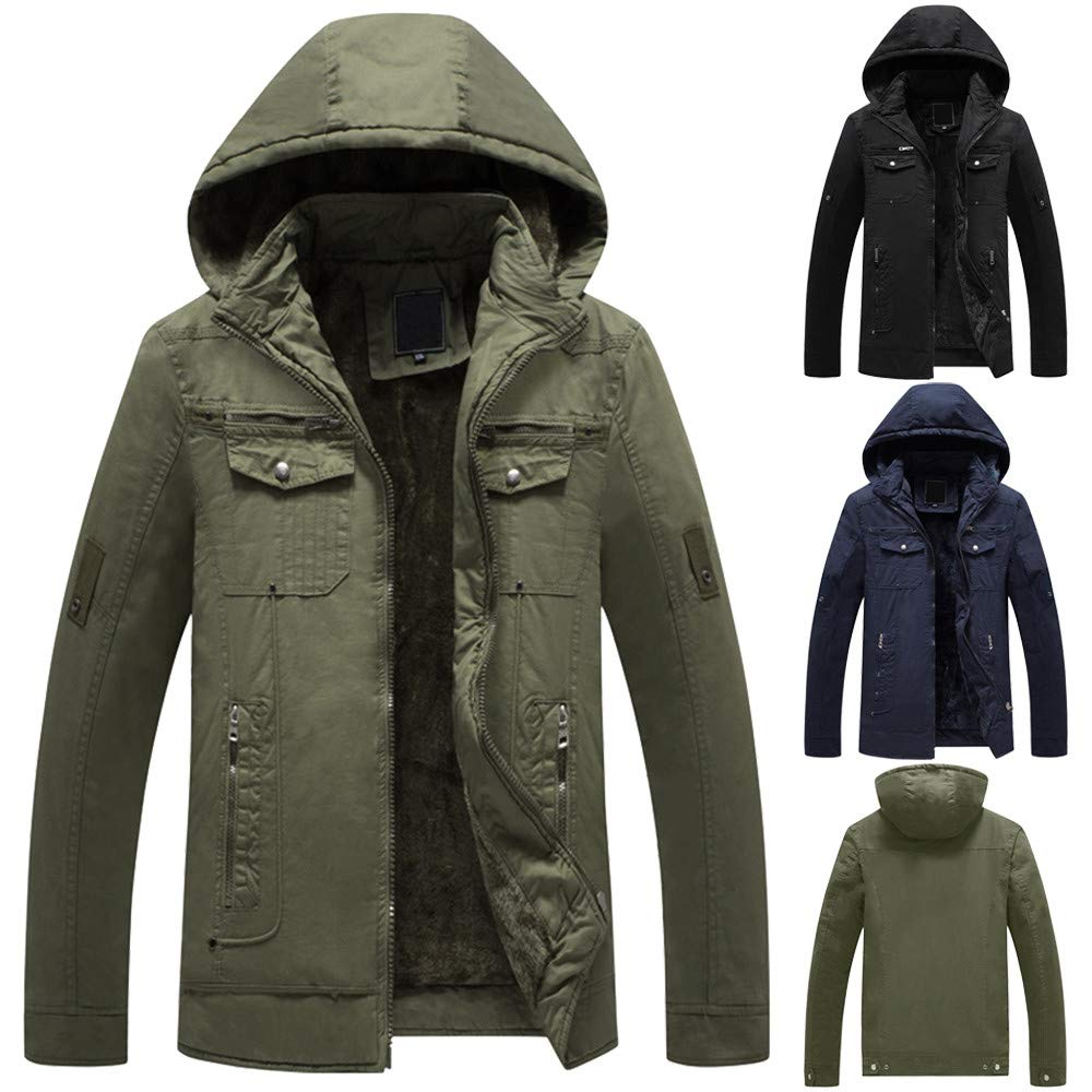 Men Jackets,Dartphew Pure Color Top Mens Winter Pocket Hooded Jacket Coat