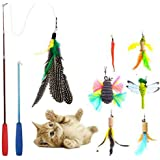 JTEEY Cat Toys Interactive,9 Packs Retractable Cat Toy Wand, Cat Feather Toy, Assorted Refills Teaser Exerciser Wand Toy…