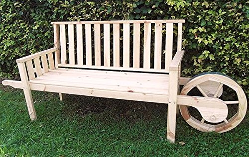 PROMADINO Gartenbank mit Rad 215x56x89cm Bank Holzbank Holz 360//51