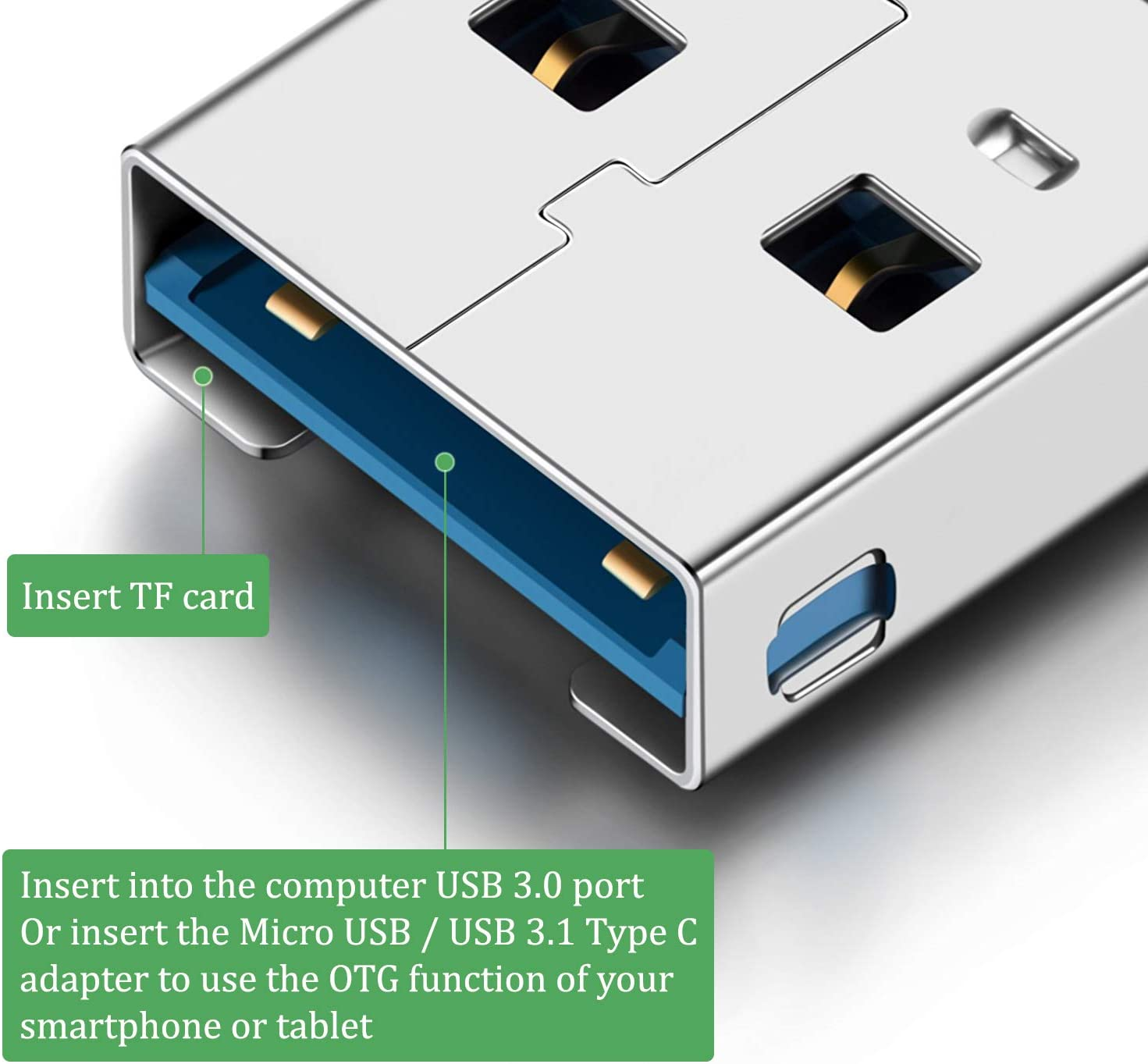 Blizim Mini Card Reader USB 3.0 TF Card with Micro USB and Type C OTG Adapter