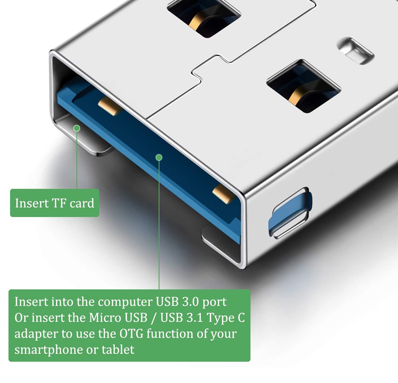 Blizim Mini Lettore Schede USB 3,0 TF con OTG Adattatore Micro USB e Type C