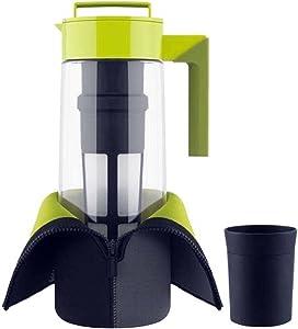"""Takeya 2 Qt. Flash Chill Tea Maker Set of 1 water pitcher, Green, 3.7""""x6.2""""x12.4"""""""
