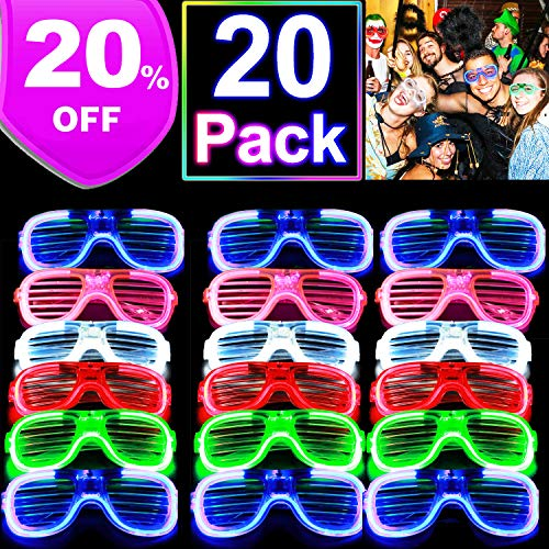 20 Pack Party Favor Light Up Glasses, Glow in The Dark Neon Party Supplies LED Glasses Light Up Toys for Kids Adults 3 Mode Flashing LED Sunglasses Accessories for Holiday Birthday Outdoor Rave Party