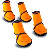 HaveGet Waterproof Dog Shoes Fluorescent Orange Dog Boots Adjustable Straps and Rugged Anti-Slip Sole Paw Protectors for All Weather Comfortable Easy to Wear Suitable for Small Large Dog