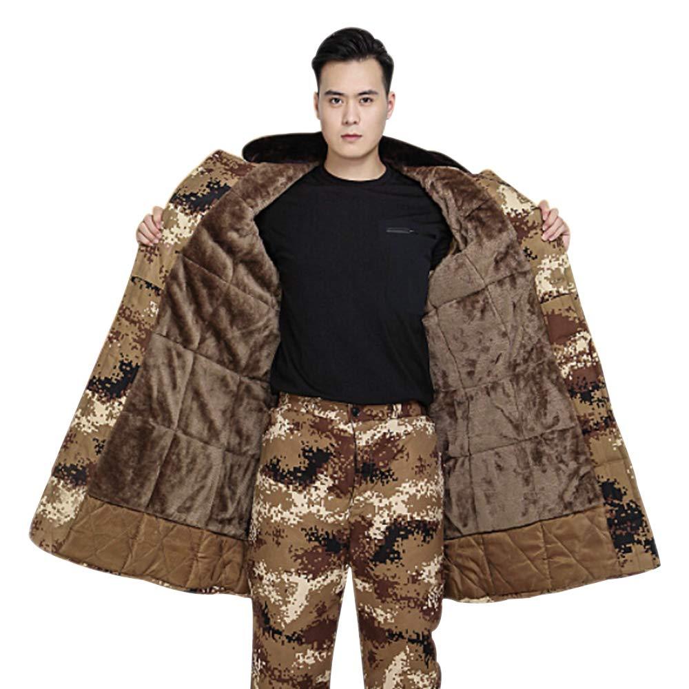 BOZEVON Men Camouflage Jacket//Trousers Winter Long Coat//Pants