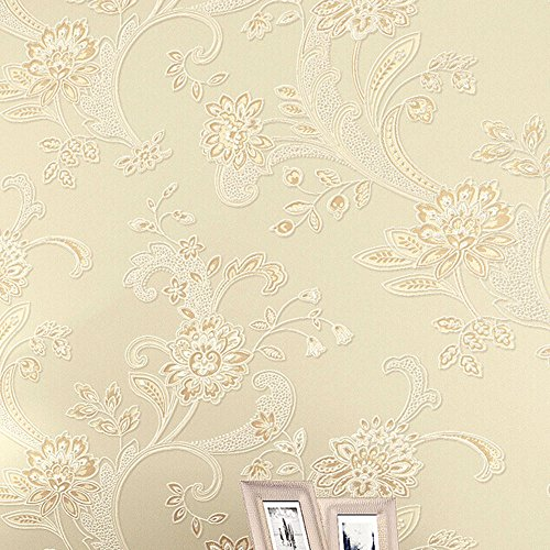Modern Simple Flower Pattern 3D Non-woven Flocking Embossed Textured Wallpaper Roll Interior Living Room Bedroom Decoration Yellow