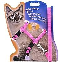 JMT-0825 Katzengeschirr, Verstellbares Geschirr, Nylonbandkragen Mit Leine, Katzenleine, Pink