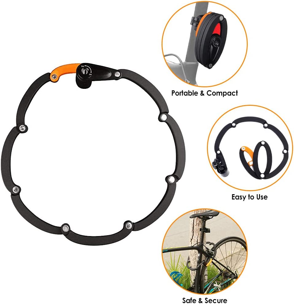 WOTOW Bike Foldable Lock, Bicycle Folding Lock Collapsible Metal Chain Cable Safety Lock with 3 Keys with Storage Mounting Bracket Reflective Sticker for Mountain Road City Bike Unfolds to 35 90cm