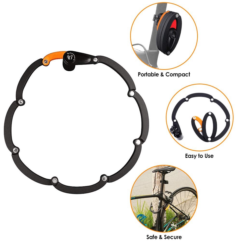 WOTOW Bike Foldable Lock, Bicycle Folding Lock Collapsible Metal Chain Cable Safety Lock with 3 Keys with Storage Mounting Bracket Reflective Sticker for Mountain Road City Bike Unfolds to 35''/90cm by WOTOW