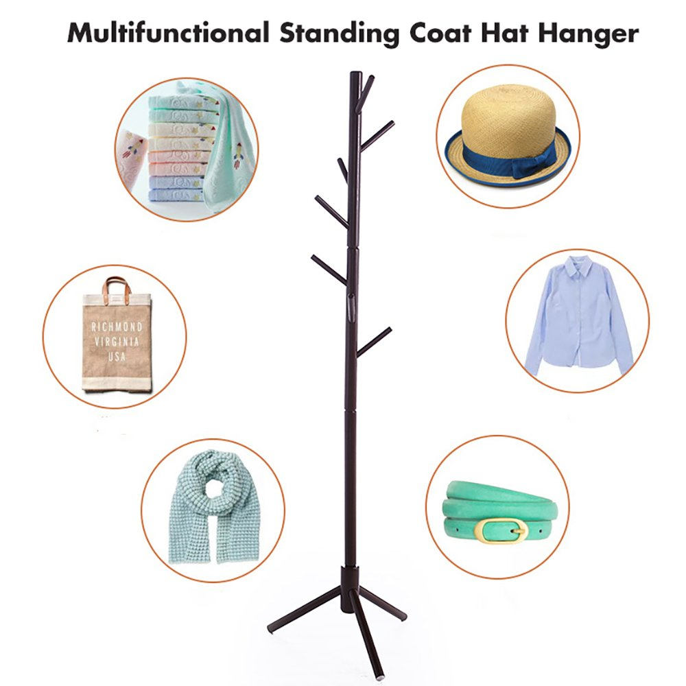 JOYBASE 8 hooks Wooden Coat Rack/Clothes Hanger Stand, for Coats, Hats, Scarves, Jacket and Handbags(Coffee) by JOYBASE (Image #4)