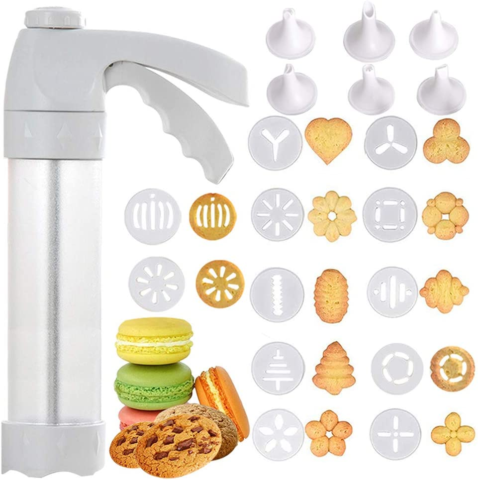 Cookie Press Icing Gun, Cookie Press Gun, DIY Biscuit Maker, Biscuit Maker Machine with 12 Discs and 6 Cake Decoration Tips, for Holidays-Baking-Biscuit, Cake, Churro