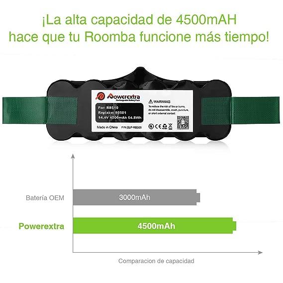 Powerextra iRobot Roomba Batería 4500mAh Ni-MH 14.4V Batería para iRobot Roomba Series 510 530 535 540 550 560 570 580 610 760 770 780 800 870: Amazon.es: ...